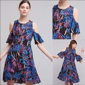 Anthropologie Elia Open Shoulder Floral Midi Dress